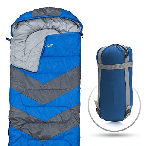 Abco Tech Sleeping Bag – Envelope Lightweight Portable, Waterproof, Comfort with Compression Sack - Great for 4 Season Traveling, Camping, Hiking, Outdoor Activities & Boys. (Single) (Blue)