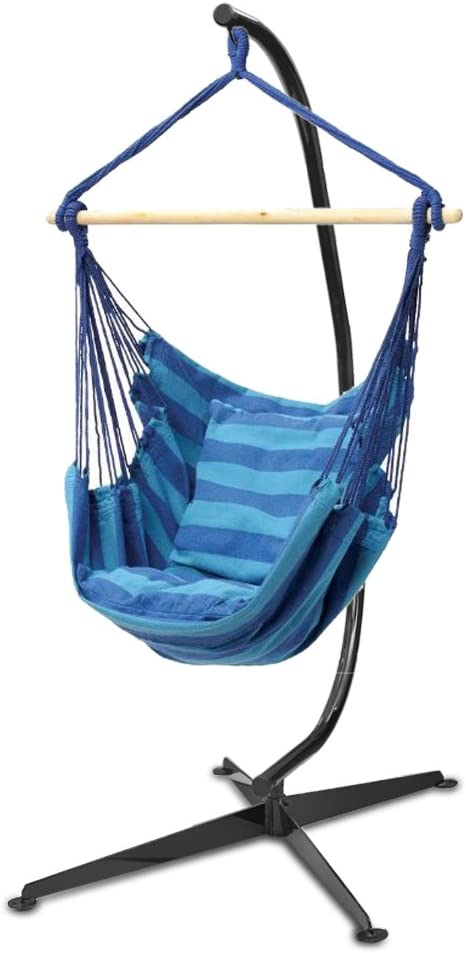 Flexzion Hanging Rope Chair Blue – Portable Canvas Striped Swing Hammock Sleeping Bed Porch Seat Weight Capacity 265 Lbs with Solid Steel C Stand for Oudoor and Indoor