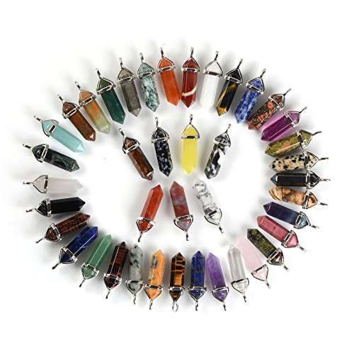 24pcs All Natural Semi-precious Gemstone Crystal Healing Hexagonal Point Pendant Bead -