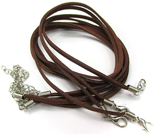 ALL in ONE 10pcs Faux Leather Suede Cord Necklace with Lobster Clasp Extended Chain (17