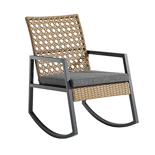 Walker Edison AZRLIZRC1BG Cane Weave Outdoor Patio Washable Cushions Rocking Chair, Set of 1, Brown/Grey
