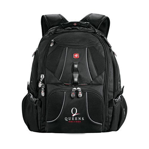 Queens College Wenger Swiss Army Mega Black Compu Backpack 'Official Logo' by CollegeFanGear
