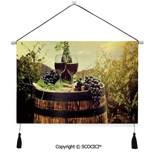 SCOCICI Durable Material Multipurpose W24xL17inch Wall Hanging Tapestry Scenic Tuscany Landscape with Barrel Couple of Glasses and Ripe Grapes Growth Decorative Decorative Painting Living Room Painti