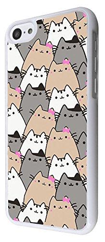 586 - Sketch Cool Multi Cats Fun Design iphone 5C Coque Fashion Trend Case Coque Protection Cover plastique et métal - Blanc