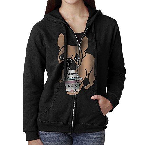 French Bulldog Drunking Juice Casual Womens Full-Zip Sweatshirt Hoodie Jacket