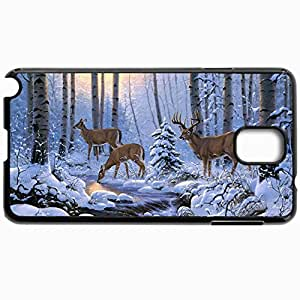 Personalized Protective Hardshell Back Hardcover For Samsung Note 3, Deer Winter Forest Snow Creek Trees Design In Black Case Color
