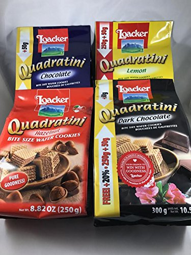 - Loacker Quadratini Wafer Cookies Variety Pack ( Pack of 4 ) By KC Commerce