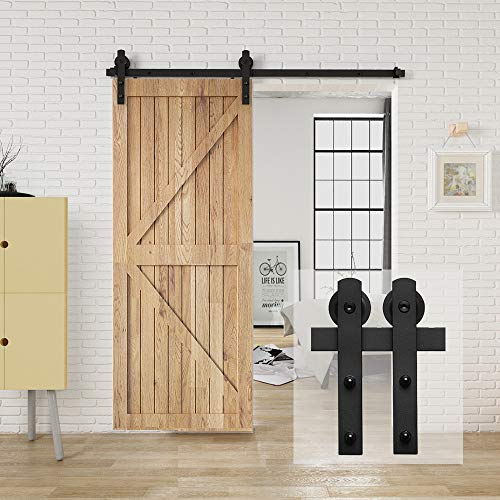 Homlux 6ft Heavy Duty Sturdy Sliding Barn Door Hardware Kit, Single Door-Smoothly and Quietly, Easy to Install and Reusable – Fit 1 3/8-1 3/4″ Thickness & 36″ Wide Door Panel, Black(I Shape Hanger)