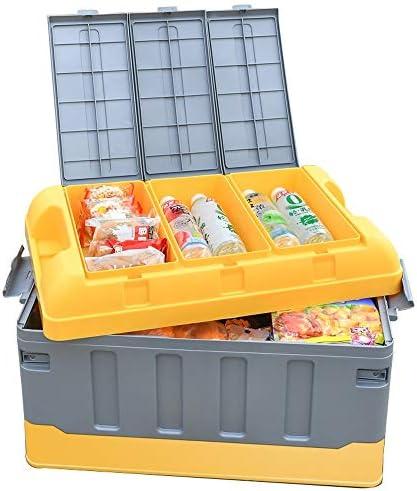 カーオーガナイザートランク ふた付きのストレージビン - プラスチック車のトランク収納ボックス車のトランク主催と蓋折り畳み式のボックス防水バッグとストレージヘビーデューティ車のトランク主催とストレージ -カーアクセサリー (Color : A, Size : 48x29x29cm-40l)