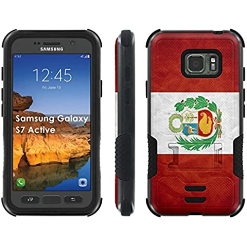 AT&T [Galaxy S7 Active] Combat Case [ArmorXtreme] [Black/Black] Hybrid Tough [Kick Stand] - [Peru Flag] for Samsung Galaxy [S7 Active] Sales