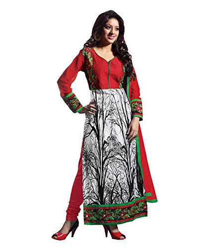 Vibes Women's Gorgette Salwar Suit Dress Material – Free Size, White
