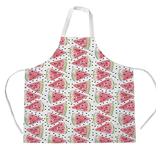 Watercolor 3D Printed Cotton Linen Apron,Pattern of Sweet Juicy Pieces Watermelon with Seed Tropical Summer Decorative,for Cooking Baking Gardening,Coral Pale Green Black