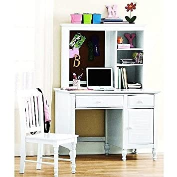 White Desk With Hutch And Chair Wood Kids Teen Computer Office Dorm