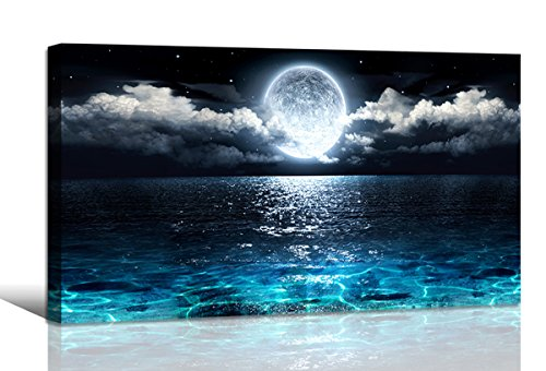 Wall Art Moon Sea Ocean Landscape Picture Canvas Wall Art Print Paintings Modern Artwork for Living Room Wall Decor and Home Décor Framed Ready to Hang,2cm Thick Frame, Waterproof Artwork. by Haichuang Decor Art