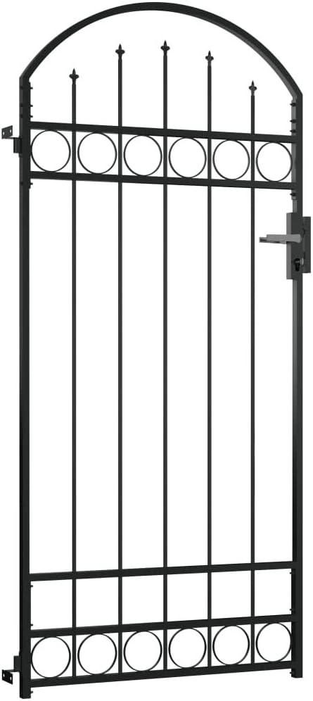 Gartent/ür Gartenbarriere Stabile Scharniere Einfache Installation vidaXL Gartentor 100 x 200 cm Mit Gew/ölbter Spitze /& Verriegelungssystem mit 3 passenden Schl/üsseln