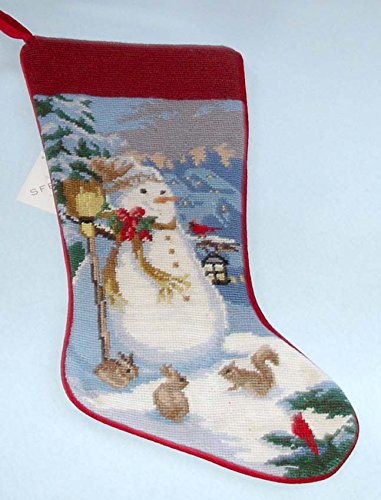 (Sferra Snowman Holiday Needlepoint Christmas Stocking Handmade New)