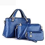 Bolayu Women 3pcs Bags Handbag+Shoulder Bags+Purse Tote Purse Leather Ladies Messenger Bag (Blue)
