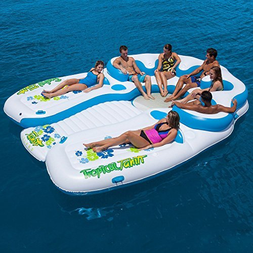 Tropical Tahiti 7-Person Floating Island with Two Suntanning Deck, Two Built-in Coolers and Eight Cup Holders