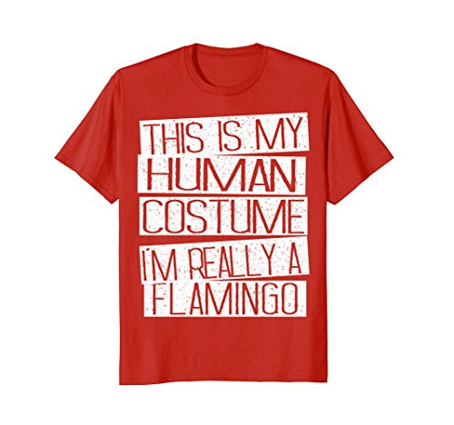 Mens Funny Halloween Costume Shirt - I'm Realy A Flamingo Shirt Medium -