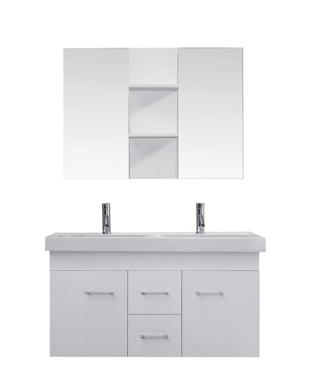 Virtu Usa Opal 48 Inch Double Sink Bathroom Vanity Set In White W