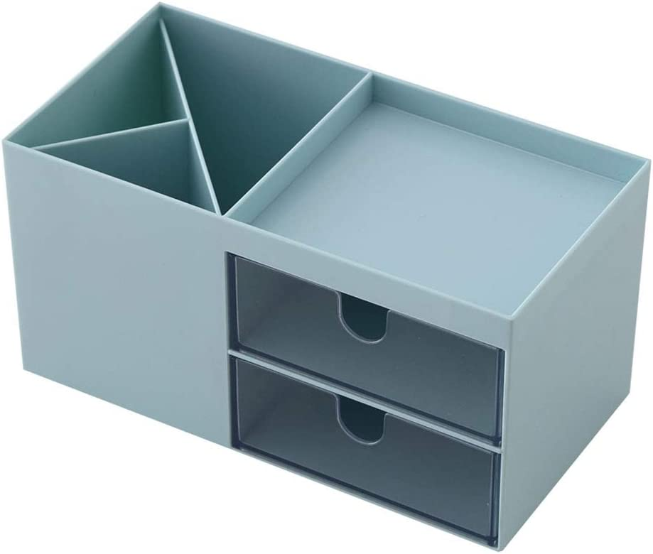 Desk storage box,Mini Desk Storage for Office Supplies, Toiletries, Crafts, etc — Great for Desk, Vanity, Tabletop in Home or Office,blue