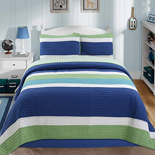 Cozy Line Home Fashions Waylon Bedding Quilt Set, Navy Blue Green White Striped Print 100% Cotton Reversible Coverlet Bedspread (Blue/Green, Queen - 3 Piece) (Quilt Blue Green)
