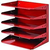 STEELMASTER Steel 5-Tier Horizontal Organizer, Letter Size, Vibrant Red (26425L007)