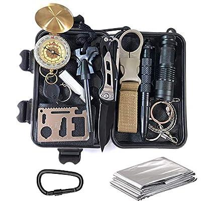 KEPEAK Emergency Survival Gear Kit, 14 in 1 Survival Kit Tool, Emergency Kit for Camping, Hiking, and Adventure from Kepeak