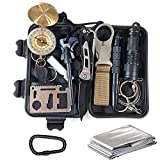 KEPEAK Survival Gear -14 in 1, Professional Emergency Survival Kit with Cutter, Tactical Pen, Flashlight, Firestarter, Whistle, Emergency Blanket for Camping, Hiking, Hunting