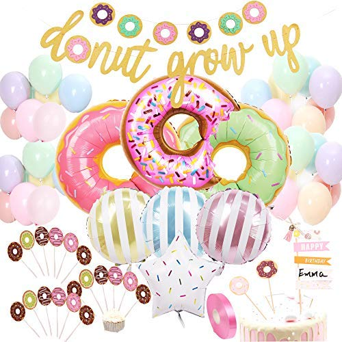 Donut Birthday Party Decorations Kit Donut Grow Up Banner Mylar Foil and Latex Balloons Cupcake and Cake DIY Toppers for Donut Birthday Party Decorations ()