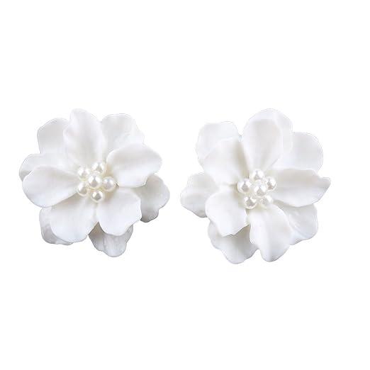 Amazon 03skaexuber ear studs for womenelegant resin white 03skaexuber ear studs for womenelegant resin white flowers earrings faux pearls earring dating jewelry mightylinksfo
