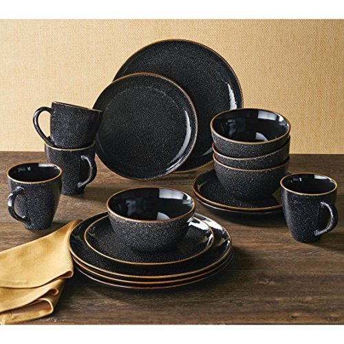 Better Homes and Gardens 16 pc Burns Dinnerware Set, Black S