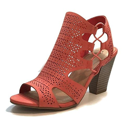 Faux Leather Strappy Heel Sandal (City Classified Open Toe Perforated Lace up Elastic Side Stacked Chunky Heel Sandal, Salmon, 9)