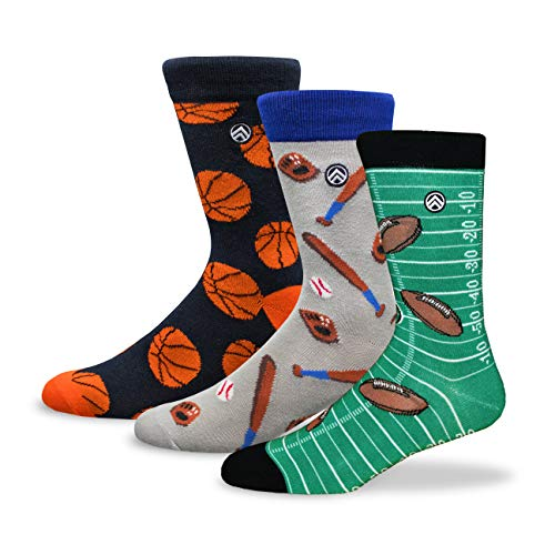 (Mens Sports Dress Business Casual Socks 3 Pack Basketball Baseball Football - Buy one, Give)