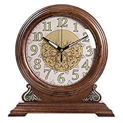 Wood Desk Clock Retro Clock with Glass Mirror and Metal dial Desktop Decoration 32.5X12X35cm