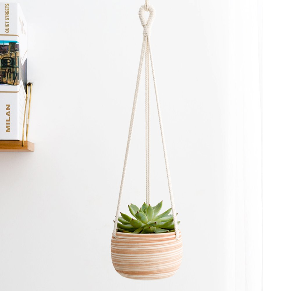 Mkono Macrame Ceramic Hanging Planter Small Succulent Plant Pot by Mkono
