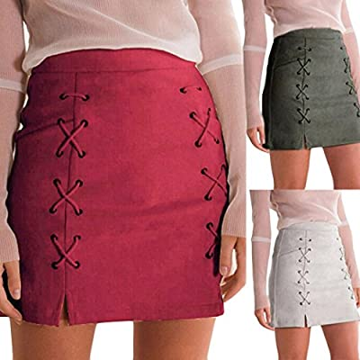 Lookatool Skirts, Women Bandage Suede Fabric Slim Seamless Stretch Tight Skirt