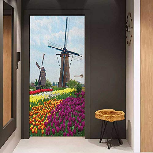 Onefzc Sticker for Door Decoration Windmill Bedding Plants of Netherlands Farm Country Heritage Historical Architecture Theme Door Mural Free Sticker W38.5 x H77 Multicolor