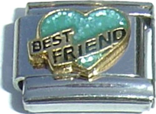 Best Friend Green Heart Italian Charm - Friends 9mm Italian Charm