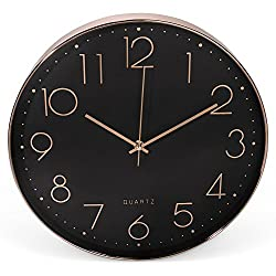 Clockz 14 inch Rose Gold and Black Decorative Wall Clock, Battery Operated Hanging Timepiece Silent Clock for Living Room, Bedroom Kitchen, Office or Study - Elegant, Industrial, Multifunctional