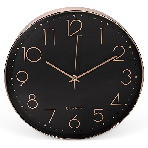 Clockz 14 inch Rose Gold Black Decorative Wall Clock, Battery Operated Hanging Timepiece Silent Clock Living Room, Bedroom Kitchen, Office Study – Elegant, Industrial, Multifunctional