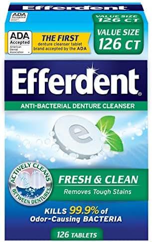 Efferdent Plus Mint Anti-Bacterial Denture Cleanser   126 Tablets