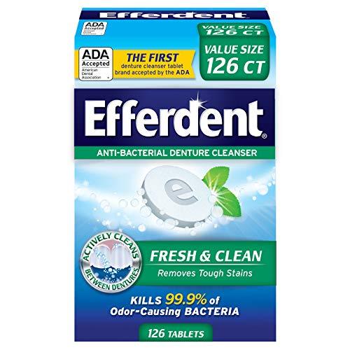 (Efferdent Plus Mint Anti-Bacterial Denture Cleanser | 126 Tablets)
