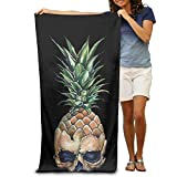Shower Curtain pillow Pineapple With Skull Absorbent Quick Dry Travel Beach Blanket Pool Bath Oversized Beach Towel 31.5in51.2in