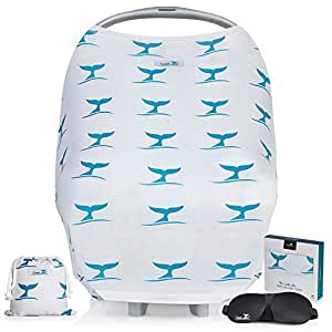 Stretchy Baby Car Seat Covers | Baby Shower GIFT SET | Nursing Cover for Breastfeeding, Multi Use Breathable Canopy for Boys and Girls, Carseat, Stroller, Universal Fit