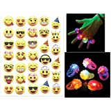 LED Flashing Bumpy Ring, Glow in the Dark Light Up Toys, Box of 12 and Emoji Temporary Tattoo Sheet of 33 Fun Emojis - Super Emoticon Fun for Party Favors for all Ages