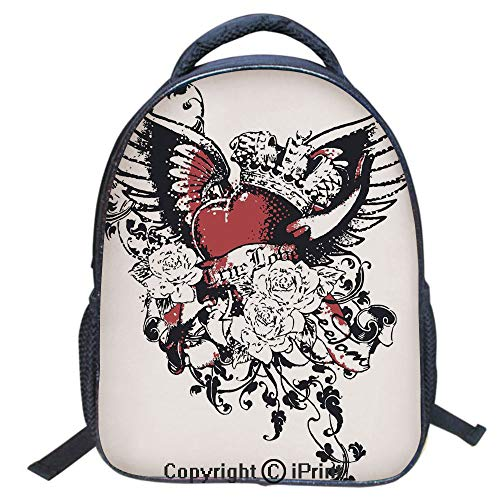 Waterproof Cute School Backpack for Boys and Girls,Water Resistant Fashion College Book Bag Unisex,16 inch,Tattoo Style Heart Crown with Wings Artictic Love Valentines Gothic Romance Graphic ()