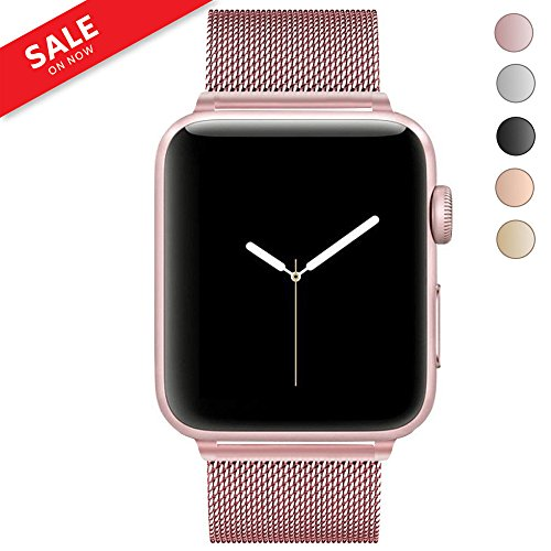 LWCUS For Apple Watch Band 38MM 42MM, Milanese Mesh Loop Stainless Steel iWatch Band for Apple Watch Series 3 2 1 Hermes Nike+ Sport Edition (38MM-Pink Rose Gold) by LWCUS