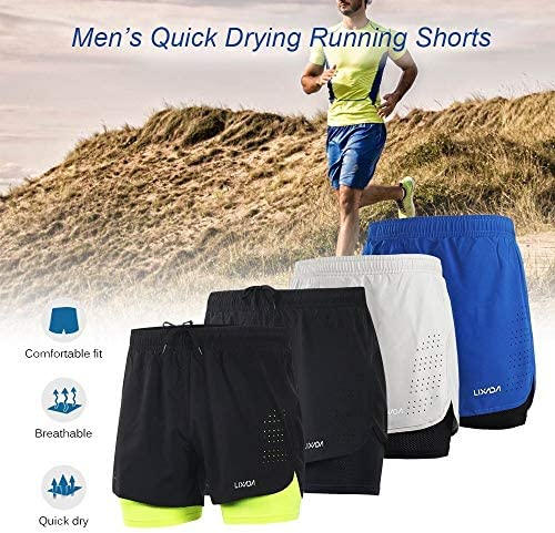1ショーツメンズ速乾性通気性のアクティブトレーニングスポーツジョギング・マラソンサイクリングフィットネスで2 (Color : Green, Size : S)