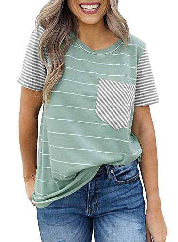 CANIKAT Women's Fashion Round Neck Striped Short Sleeve Shirts Color Block Blouses Tee Tops with Pocket Green M